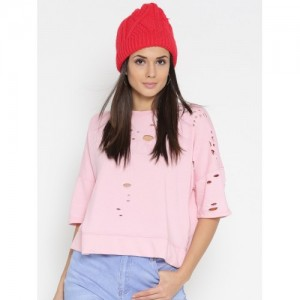 FOREVER 21 Women Pink Solid Sweatshirt with Cut-Outs