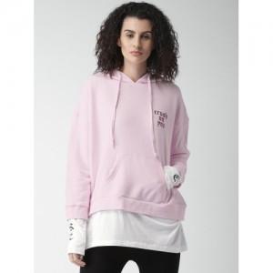 FOREVER 21 Women Pink Solid Hooded Sweatshirt