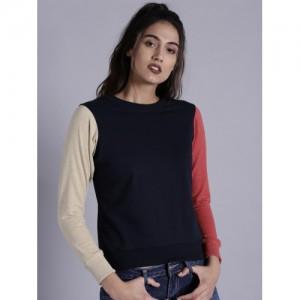 Kook N Keech Women Navy Solid Sweatshirt