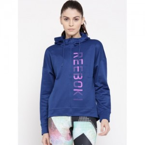 Reebok Women Blue WOR BB Fleece FZ Brand Print Hooded Sweatshirt