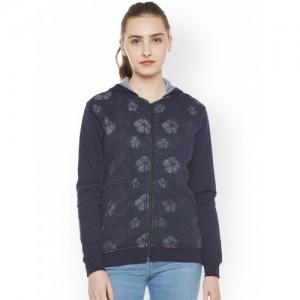Miss Grace Women Navy Blue Self Design Hooded Sweatshirt