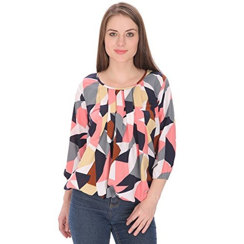 e21a6b99d8d28c ... Indietoga women Multi Colour Crepe Balloon Long Sleeve western wear Top  ( PLUS SIZE) ...