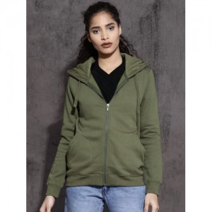 Roadster Women Olive Green Solid Hooded Sweatshirt