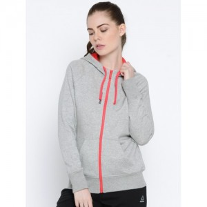 Reebok Women Grey Solid Hooded Sweatshirt