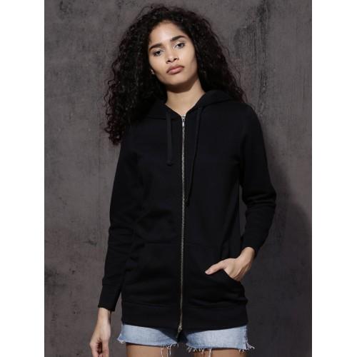 Buy Roadster Women Black Solid Hooded Sweatshirt online  6b87ed093e17