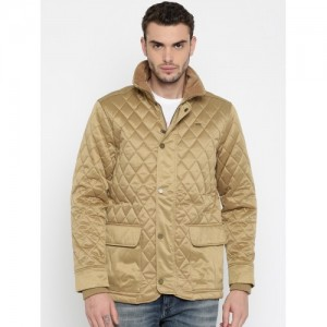 Indian Terrain Men Khaki Self Design Quilted Jacket