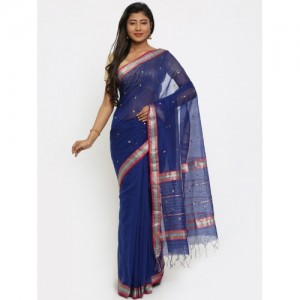 gocoop Blue Silk Cotton Woven Design Chanderi Saree