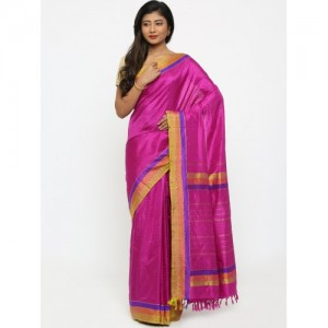 gocoop Magenta Pure Silk Self-Striped Kanjeevaram Saree