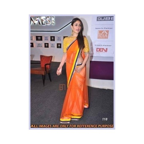 d625316d52 Buy Bollywood Style Kareena Kapoor Net Saree In Orange Colour online ...