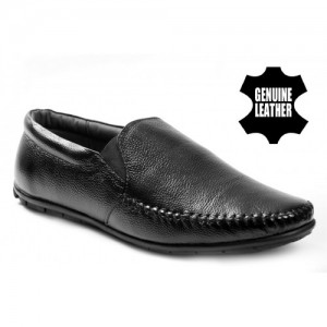 Baton Black Synthetic Solid Slip-On Formal Shoes