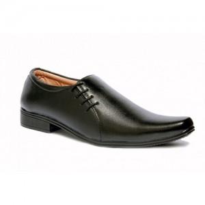 Mr. Vogue Black Faux Leather Formal Shoes
