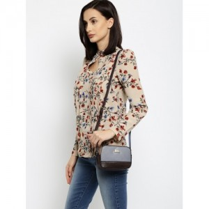 Accessorize Grey & Brown Colourblocked Sling Bag