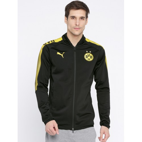 09d028474 Buy Puma Men Black Solid BVB Poly Sporty Jacket online   Looksgud.in
