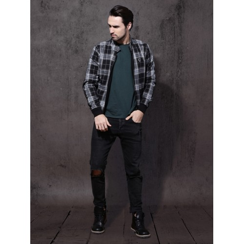 Roadster Men Black & Grey Checked Reversible Tailored Jacket