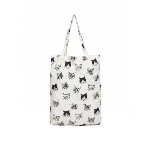 Accessorize Off-White & Black Printed Tote Bag