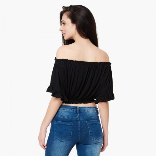 a0edd55f6b Buy GINGER Solid Off Shoulder Crop Top online
