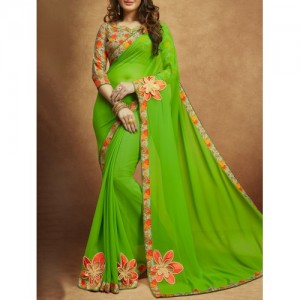 Shaily Green Embroidered Saree