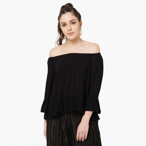 a28478cd4f93 Buy GINGER Solid Flared Sleeves Off-Shoulder Top online ...