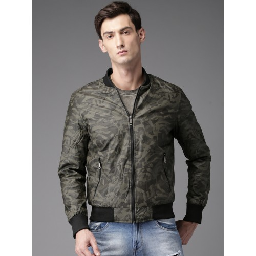 ef1f593ac Buy HERE&NOW Men Olive Green Camouflage Print Bomber Jacket ...
