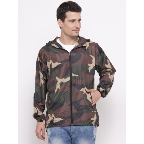 954e8a6578af1 ... FOREVER 21 Men Olive Green & Brown Camouflage Print Hooded Tailored  Jacket ...