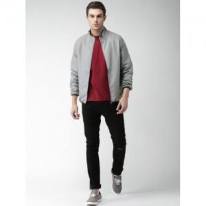 Mast & Harbour Men Grey Solid Lightweight Sporty Jacket