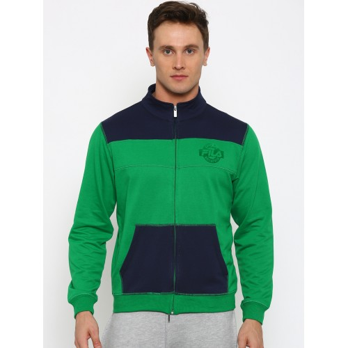 Buy FILA Green   Navy Colourblocked Sporty Jacket online  a96882e119e5