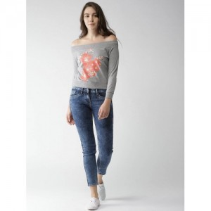 Mast & Harbour Women Grey Melange Printed Sweatshirt
