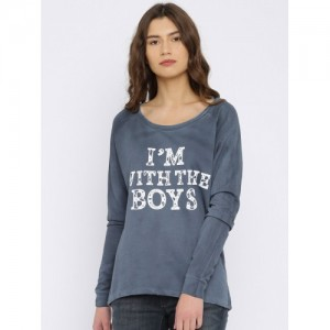 ONLY Blue Printed Sweatshirt