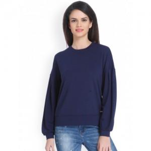 ONLY Women Navy Blue Solid Sweatshirt