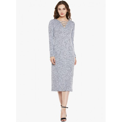 Miss Chase Grey Coloured Textured Bodycon Dress
