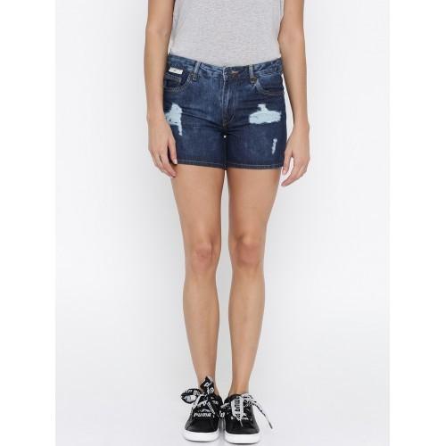 752847101 ... Mast & Harbour Women Blue Distressed Slim Fit Regular Shorts ...