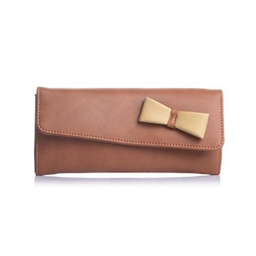 Fostelo Women's Bow Clucth (Tan) (FC-03)