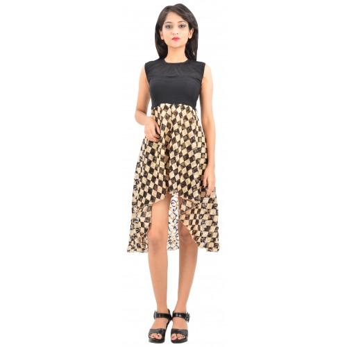 Stylezing Asymmetric Dress Black And Beige Checks Women's Dress