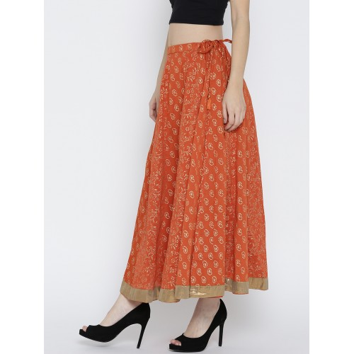 94746feb1 Buy Rangriti Orange & Golden Printed Maxi Flared Skirt online ...