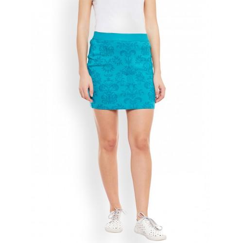 a20000585d ... Rider Republic Turquoise Blue Floral Print Mini Pencil Skirt ...