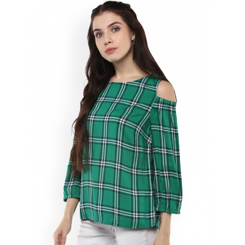 46bf80f03d015d Buy Harpa Women Green Checked Cold Shoulder Top online