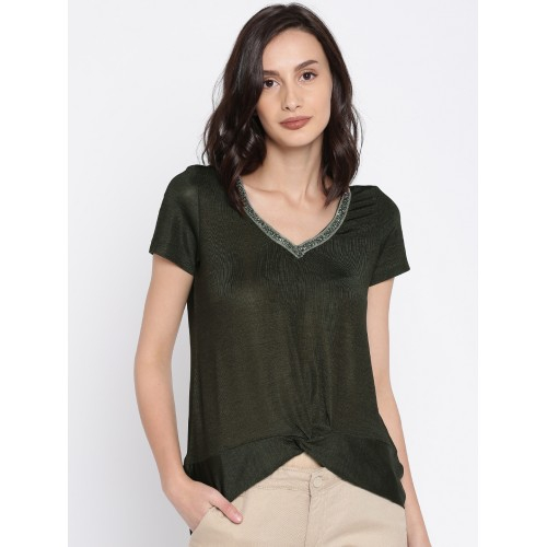 1f2e768077 Buy CODE by Lifestyle Women Olive Green Solid Top online ...