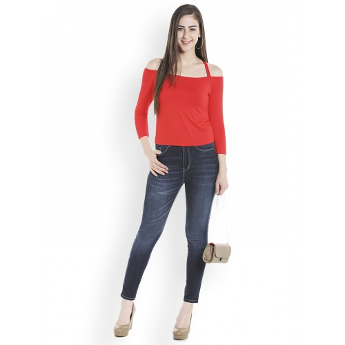 02792593e62 Buy TARAMA Women Red Solid Fitted Bardot Top online | Looksgud.in