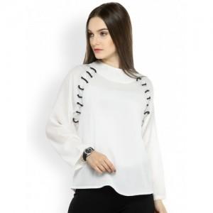 plusS Women White Solid Top