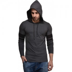 Kay Dee Grey Cotton Solid Hooded T-Shirt