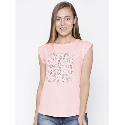 bcafe80093 Buy Pepe Jeans Women Pink Printed Round Neck T-shirt online ...