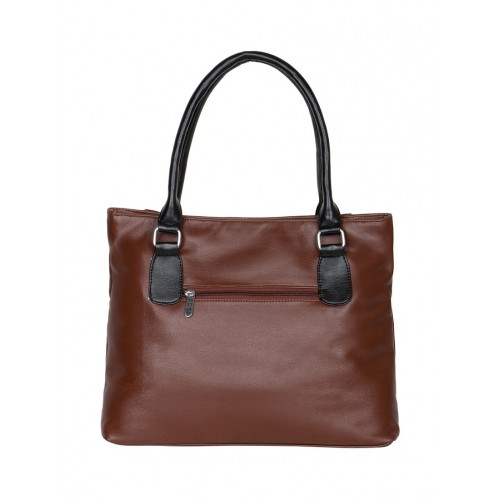 ADISA brown leatherette handbag with pouch