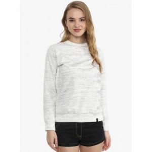 The Vanca White Textured  Sweatshirt