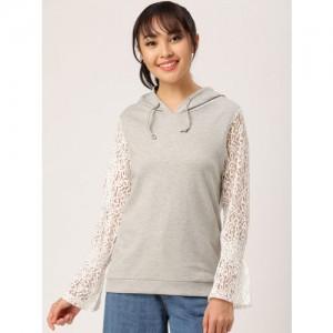 Dressberry Grey Melange Solid Sweatshirt