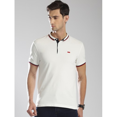 2118d071 Buy Levis Men White Solid Polo Collar T-shirt online | Looksgud.in