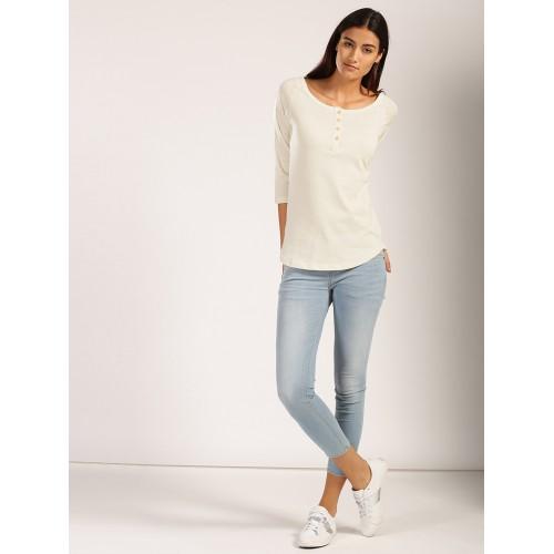 8280e298 ... Harvard Women Cream-Coloured Solid Henley Neck T-shirt ...