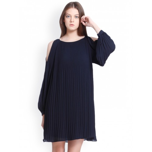 3765f9f6263 Buy Vero Moda Women Navy Blue Solid A-Line Dress online | Looksgud.in