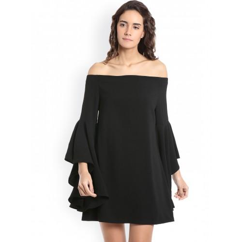 7ac1a25f1fd Buy Vero Moda Women Black Solid A-Line Dress online | Looksgud.in