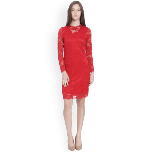 Vero Moda Women Red Solid Bodycon Lace Dress