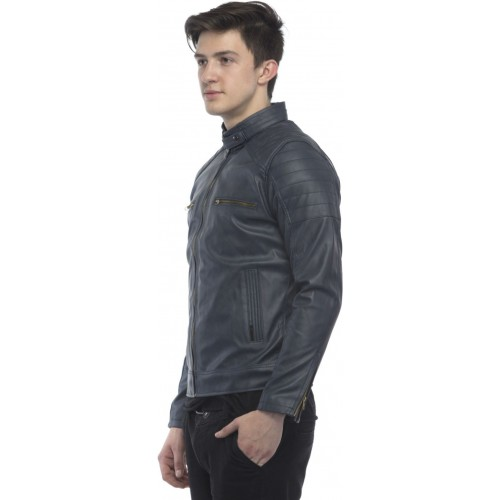Lambency Blue Full Sleeve Solid Riding Jacket